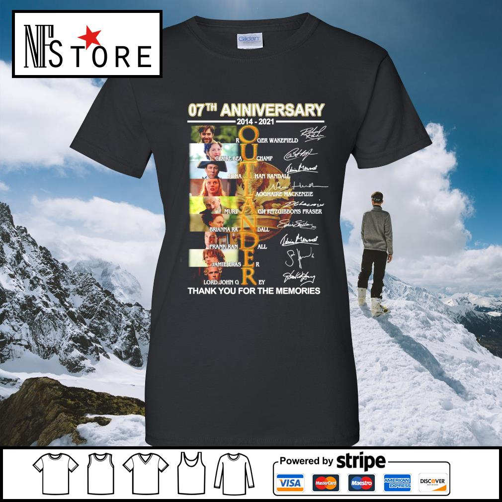 07th anniversary 2014 2021 Outlander thank you for the memories signatures ladies-tee