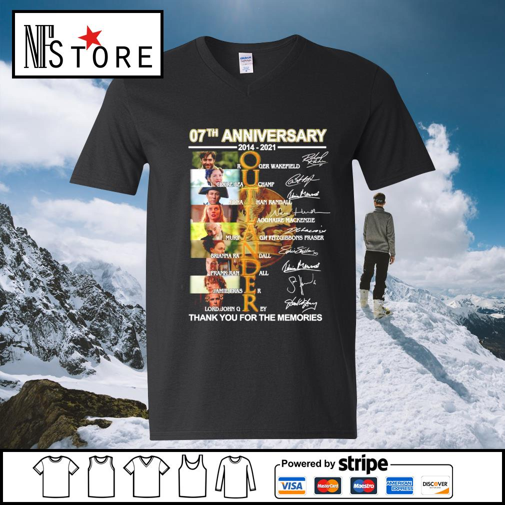 07th anniversary 2014 2021 Outlander thank you for the memories signatures v-neck-t-shirt
