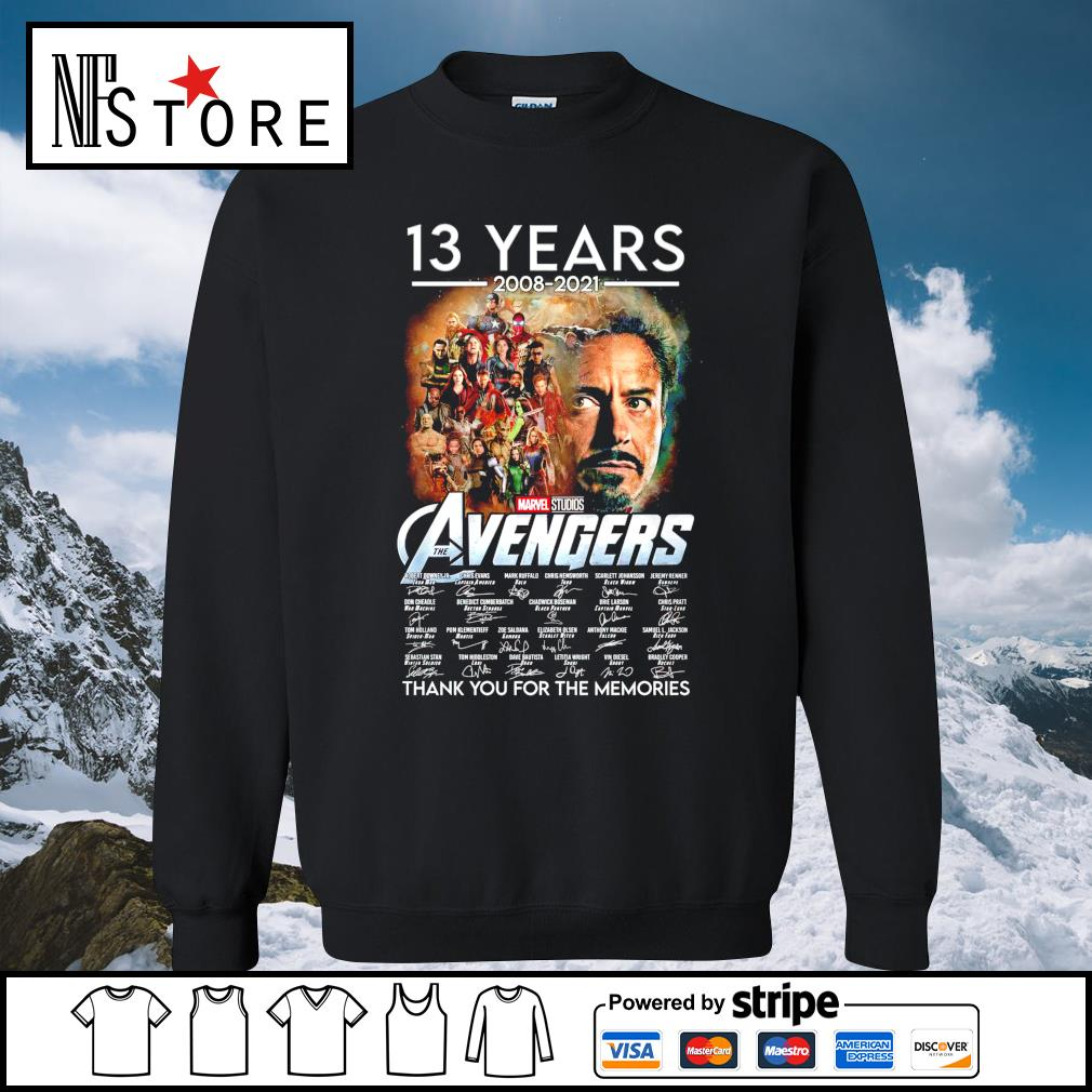 13 years 2008 2021 Marvel Studios The Avengers thank you for the memories sweater