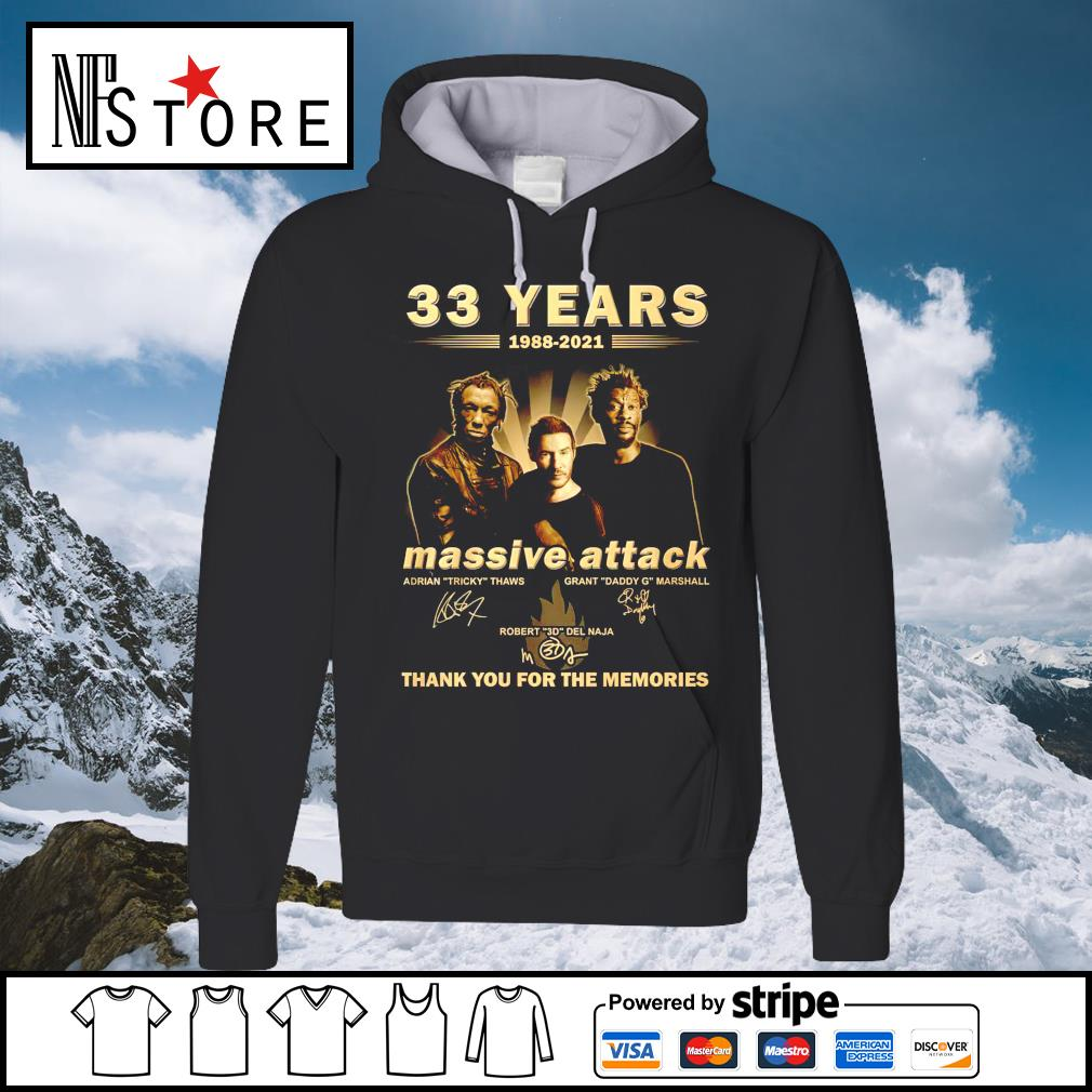 33 years 1988 2021 Massive Attack thank you for the memories hoodie