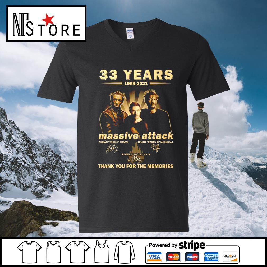 33 years 1988 2021 Massive Attack thank you for the memories v-neck-t-shirt