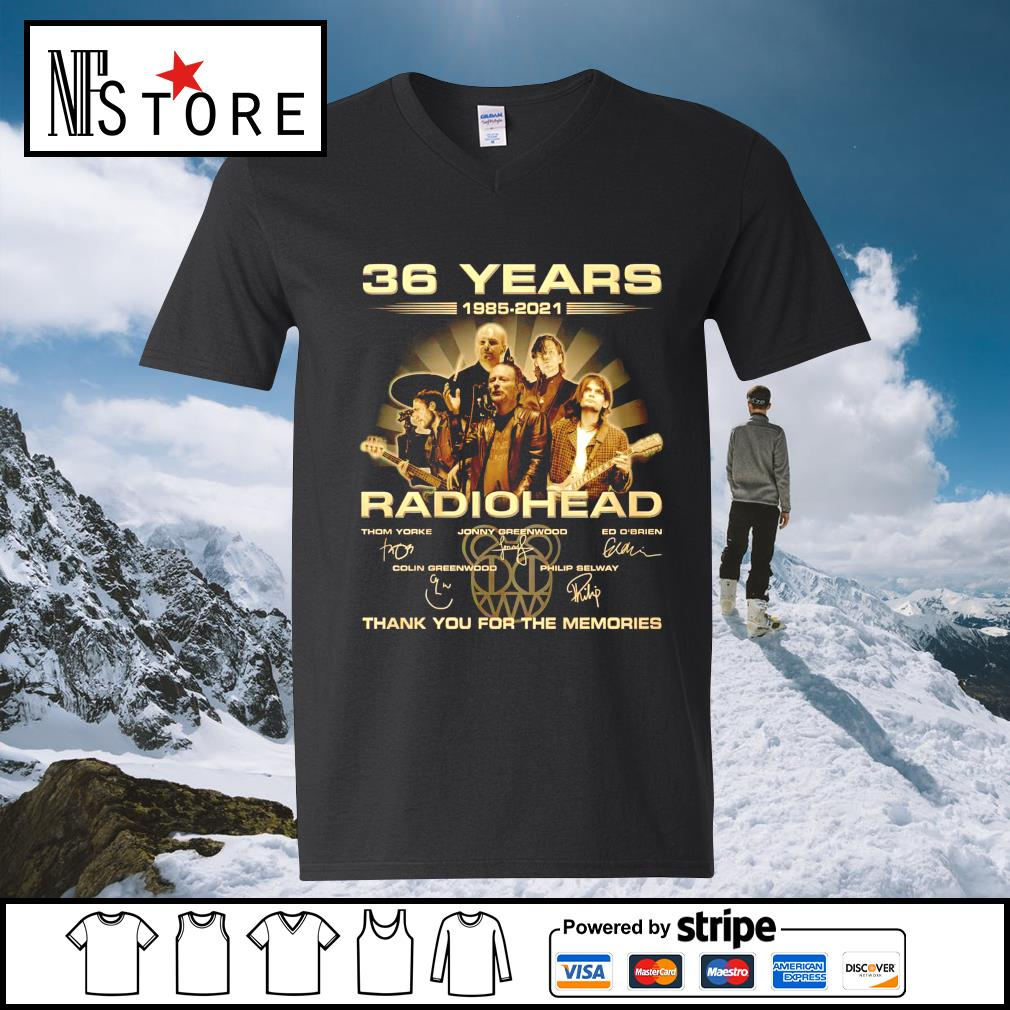 36 years 1985 2021 Radiohead thank you for the memories v-neck-t-shirt