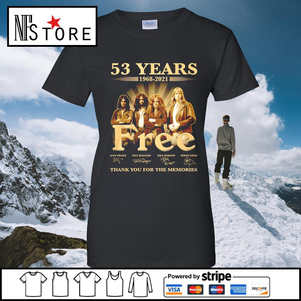 53 years 1968 2021 Free thank you for the memories ladies-tee