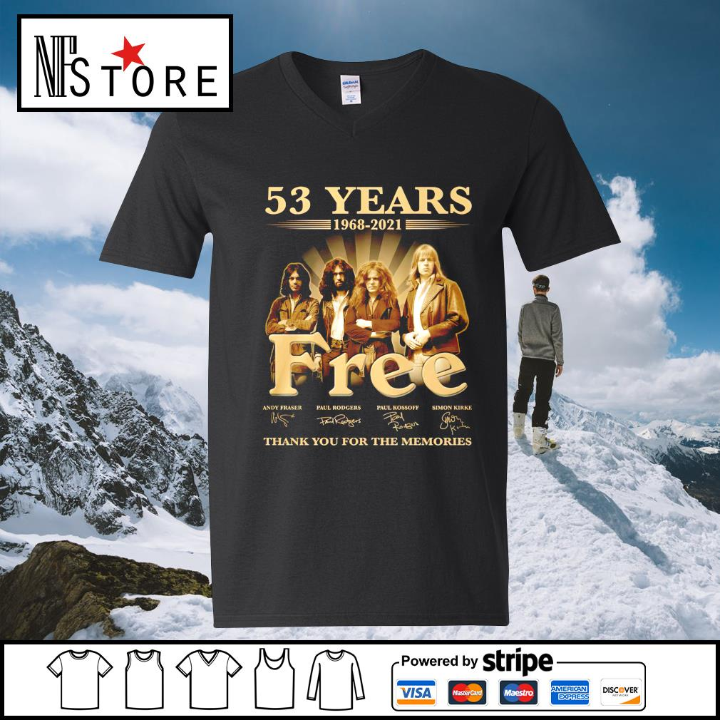 53 years 1968 2021 Free thank you for the memories v-neck-t-shirt