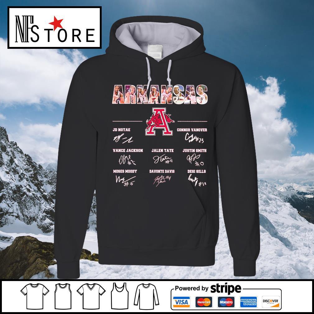 Arkansas Razorbacks JD Notae Connor Vanover Vance Jackson signatures hoodie