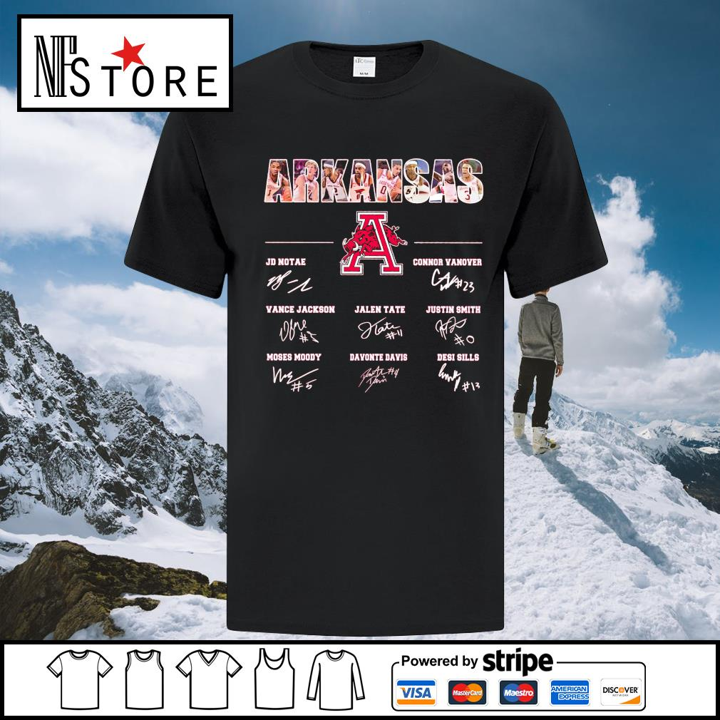 Arkansas Razorbacks JD Notae Connor Vanover Vance Jackson signatures shirt