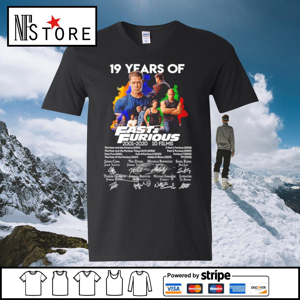 19 years of fast and furious 2001-2020 10 films s v-neck-t-shirt