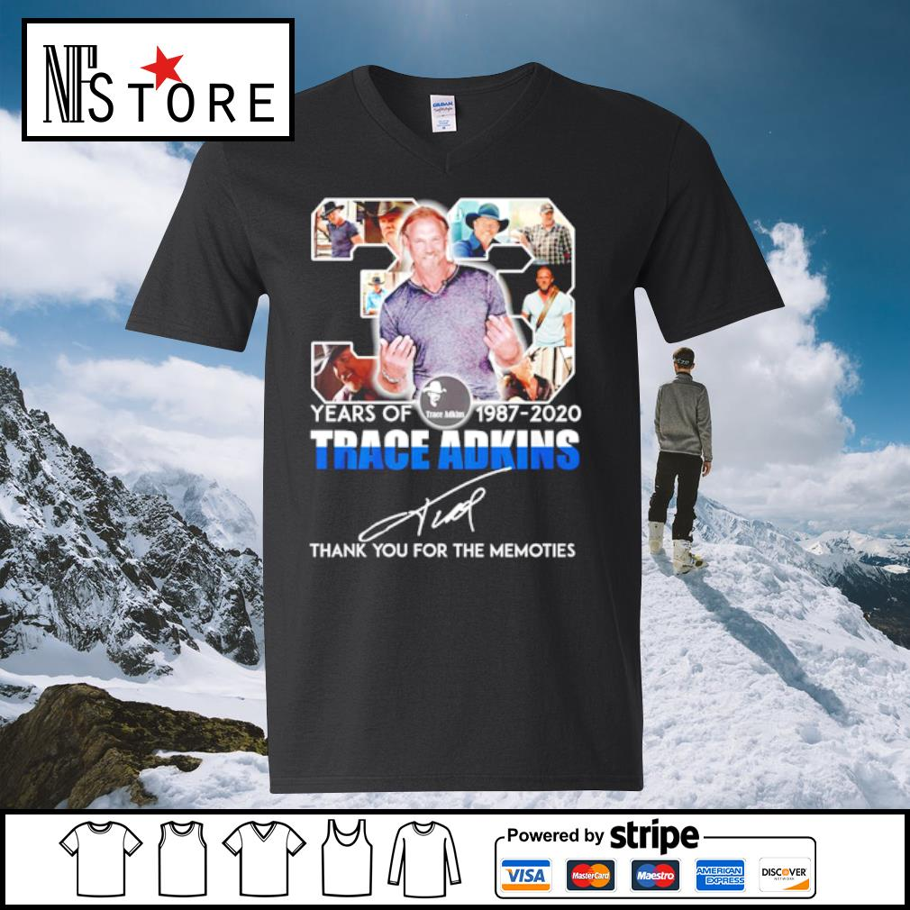 33 years of 1987-2020 Trace adkins thank you for the memories s v-neck-t-shirt