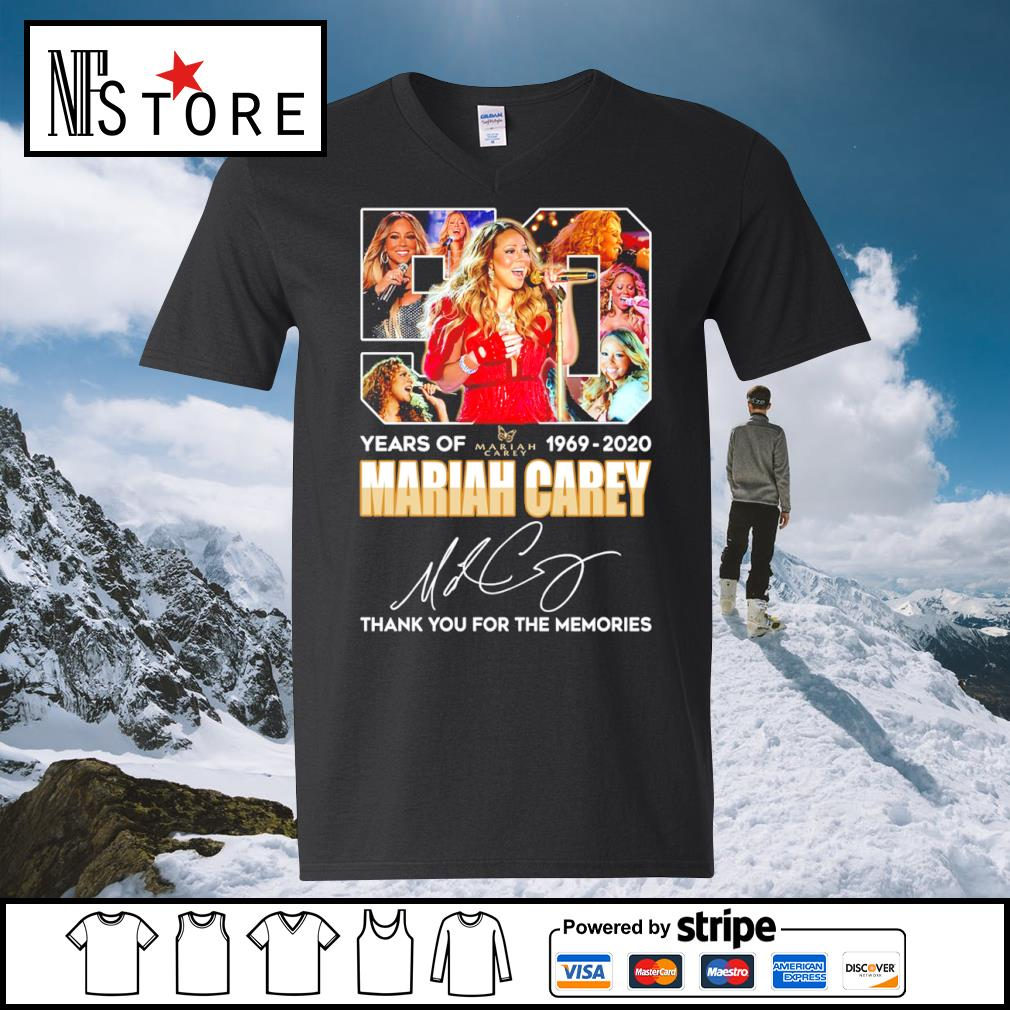 50 years of Mariah Carey 1969 2020 thank you for the memories s v-neck-t-shirt