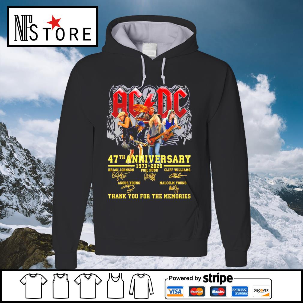 AC DC 47th anniversary 1973 2020 thank you for the memories s hoodie