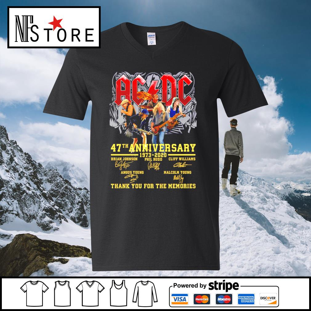 AC DC 47th anniversary 1973 2020 thank you for the memories s v-neck-t-shirt