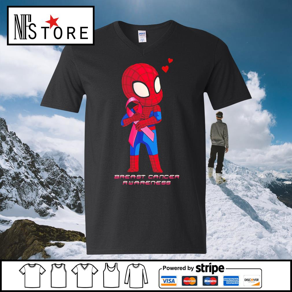 Baby Spiderman Breast Cancer Awareness s v-neck-t-shirt
