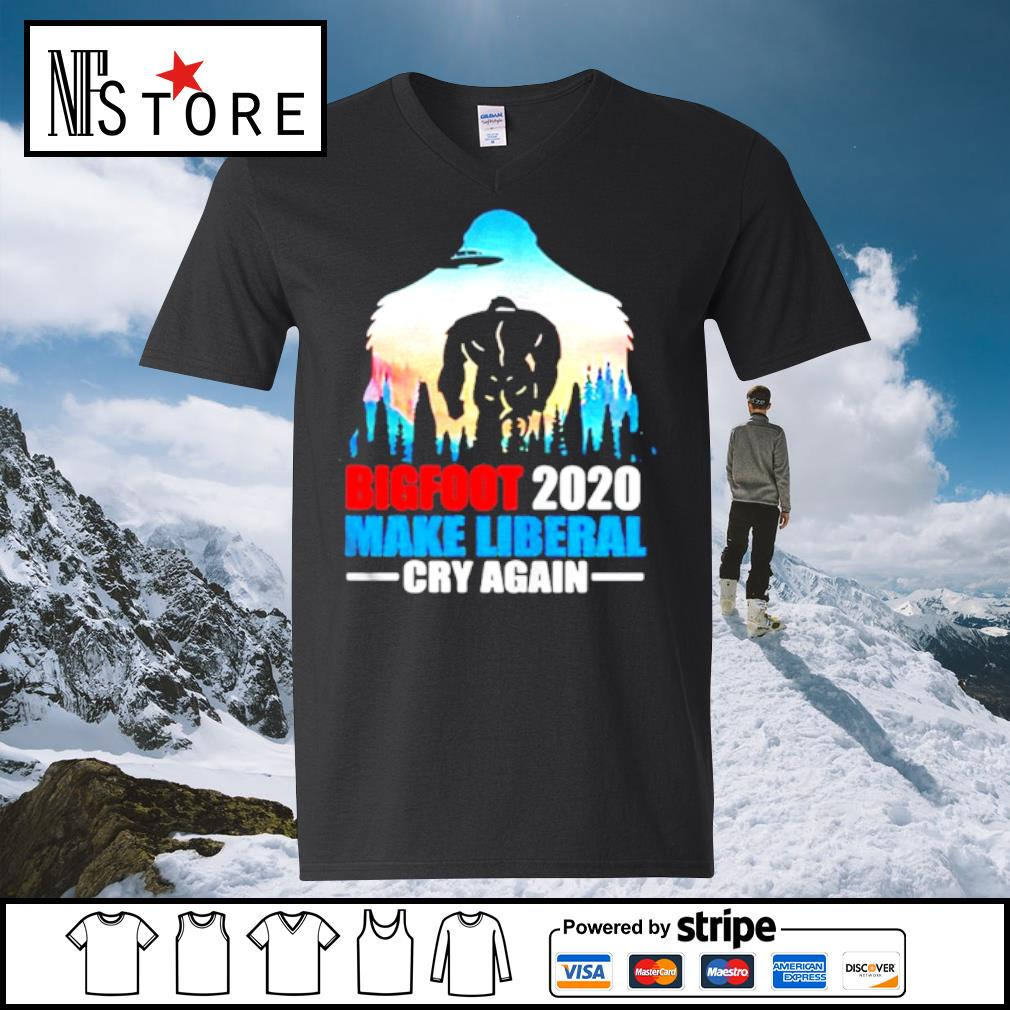 BIGFOOT 2020 MAKE LIBERAL CRY AGAIN ALIEN s v-neck-t-shirt
