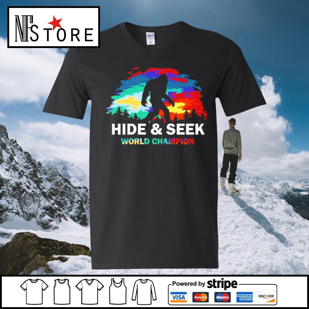 Bigfoot hide and seek world champion s v-neck-t-shirt