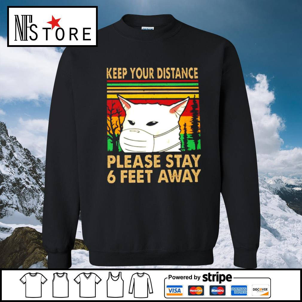 Cat face mask keep your distance please stay 6 feet away vintage s sweater