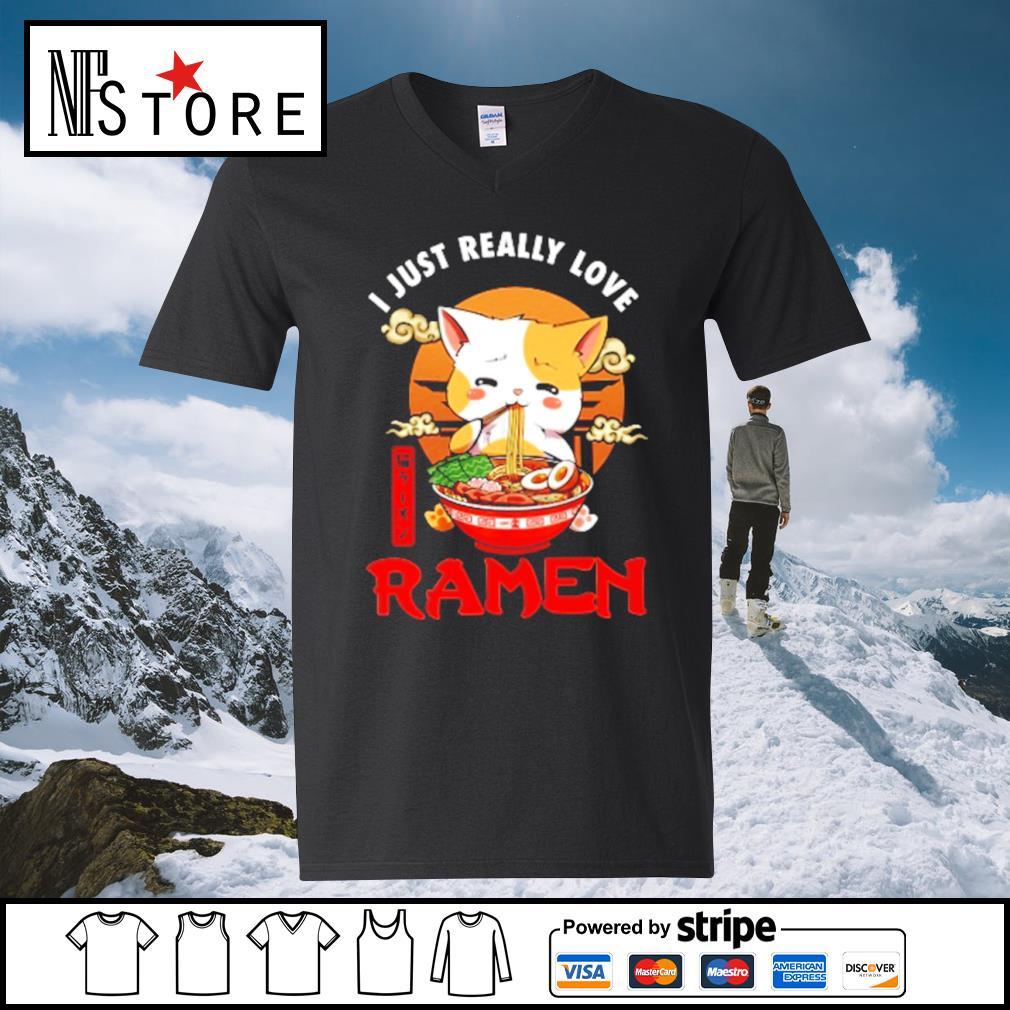 Cat I just really love Ramen s v-neck-t-shirt