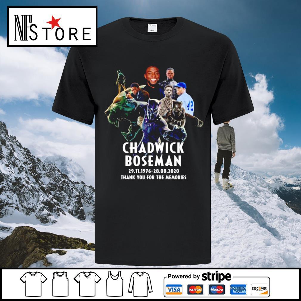 Chadwick Boseman 29.11.1976 28.08.2020 thank you for the memories shirt