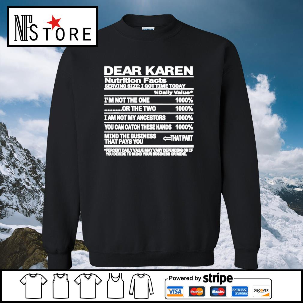 Dear Karen nutrition Facts serving size I got time today s sweater