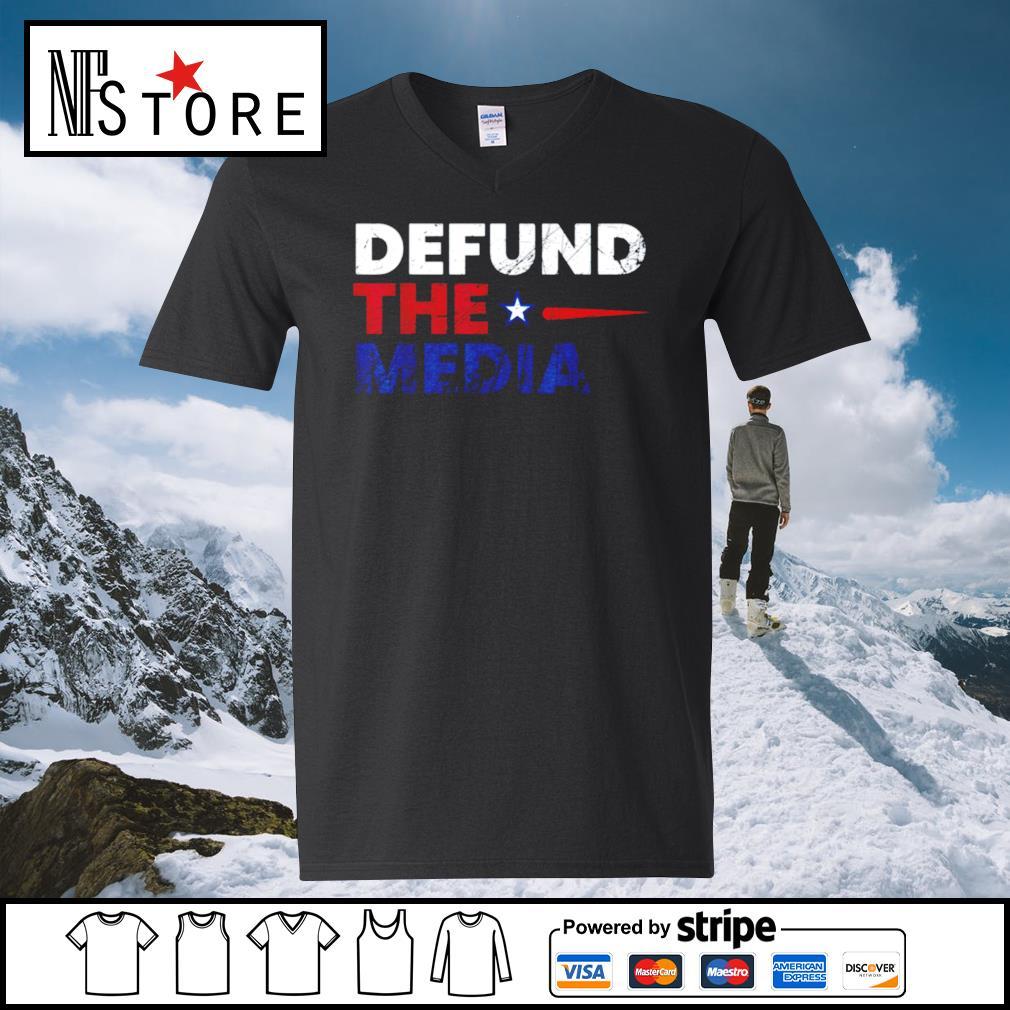 Defund the media s v-neck-t-shirt