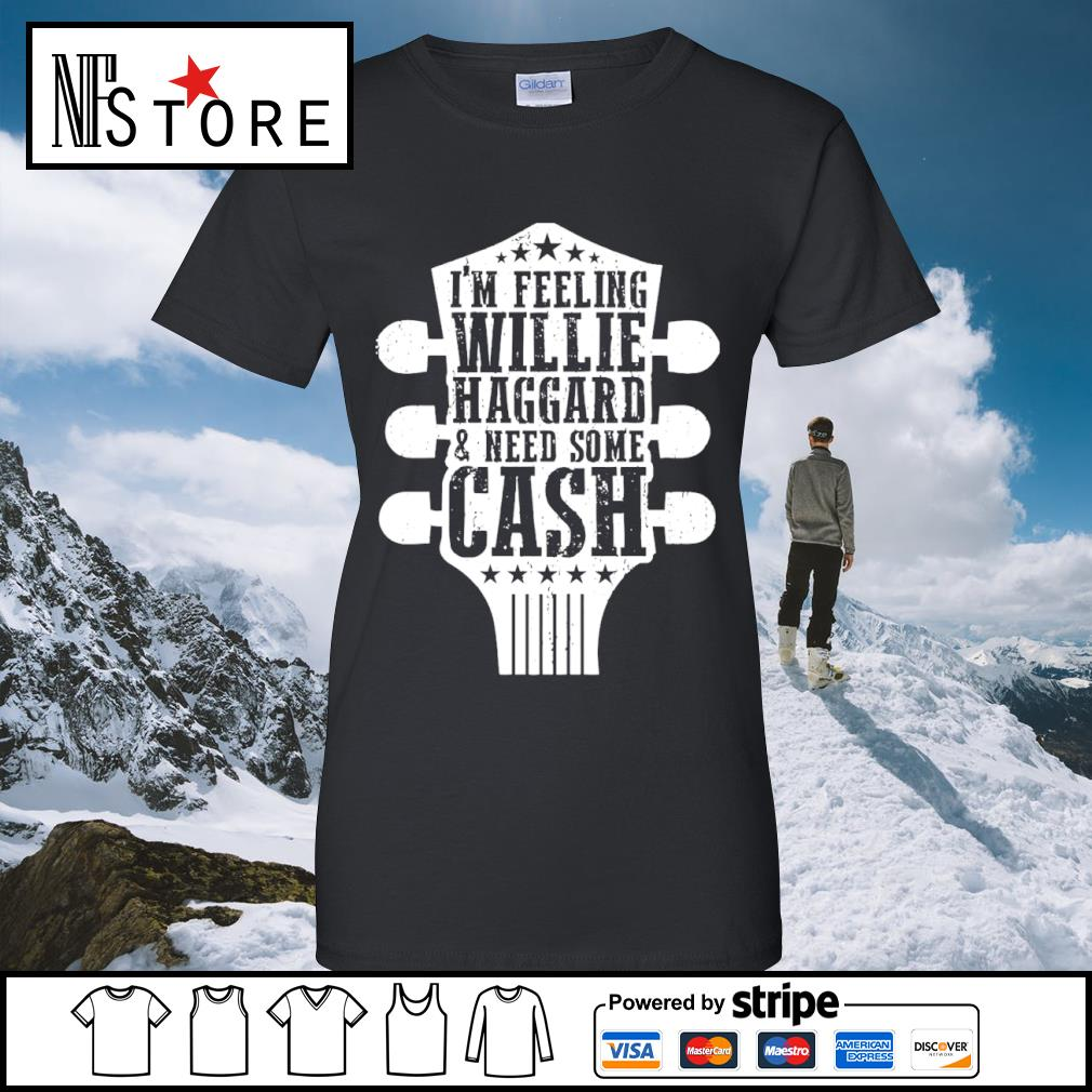 Guitar I'm feeling willie haggard and need some cash s ladies-tee