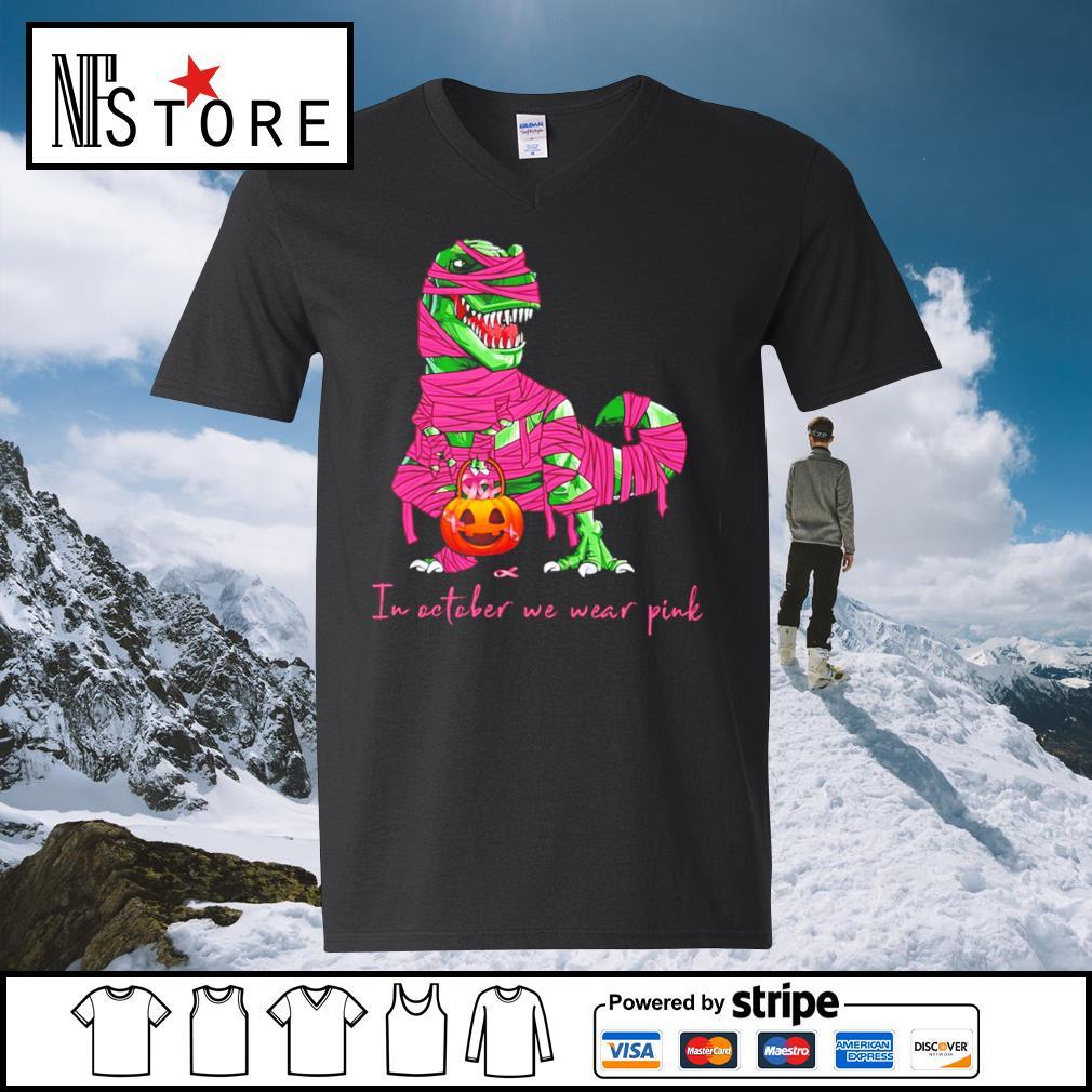 Halloween dinosaurs T-rex pumpkin s v-neck-t-shirt