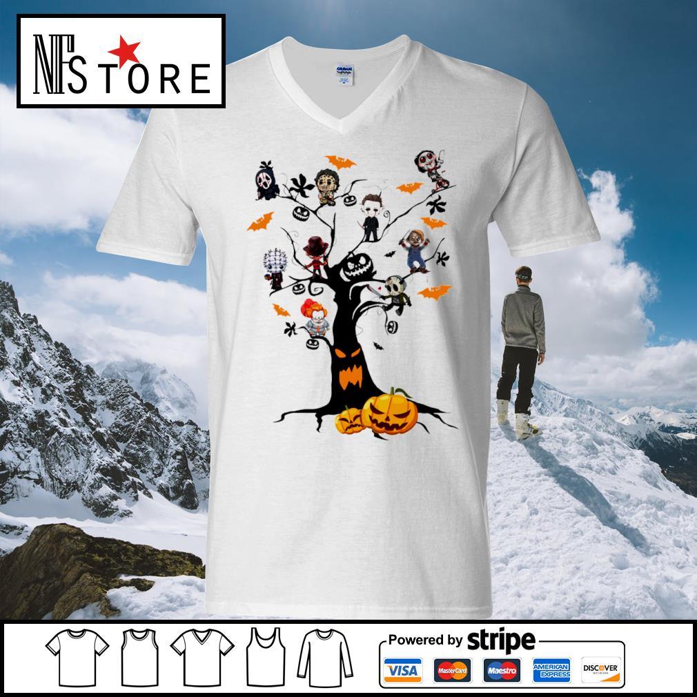Halloween horror movies characters chibi on tree s v-neck-t-shirt