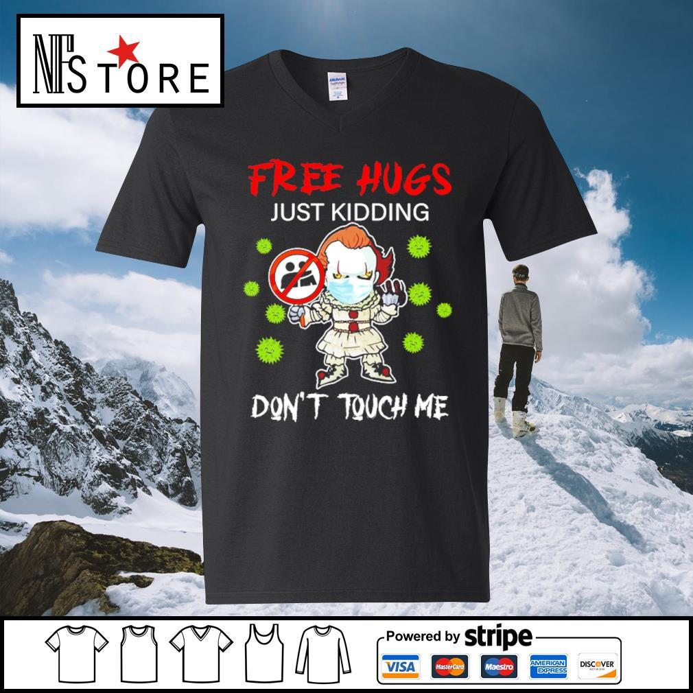 Halloween Pennywise chibi free hugs just kidding don't touch me s v-neck-t-shirt