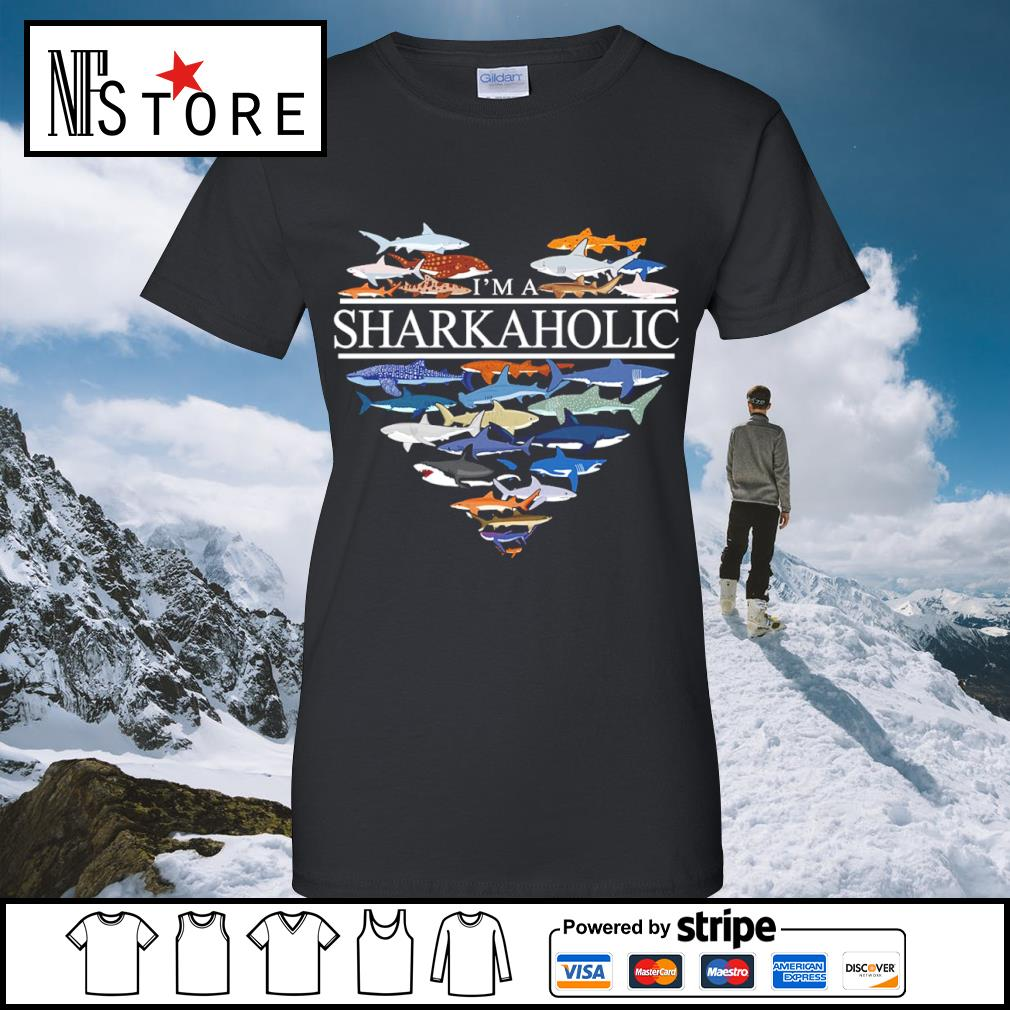 Heart love I'm a Sharkaholic s ladies-tee