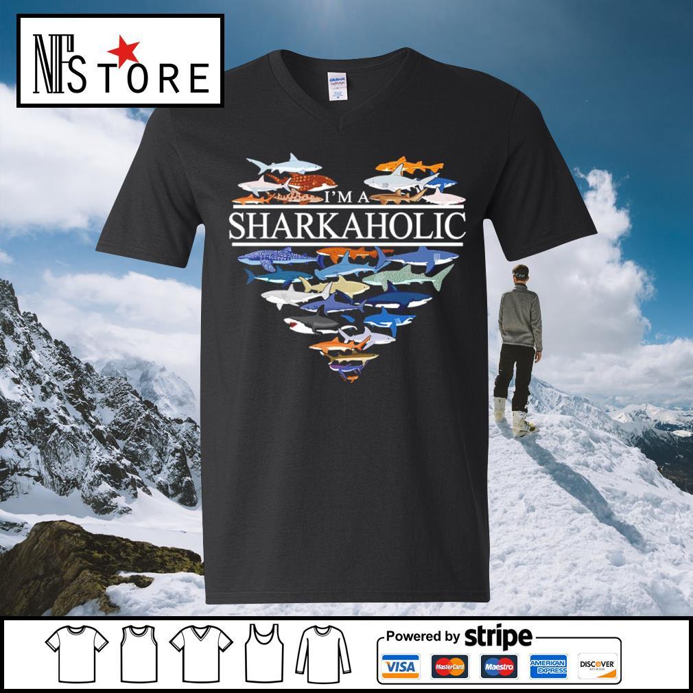 Heart love I'm a Sharkaholic s v-neck-t-shirt