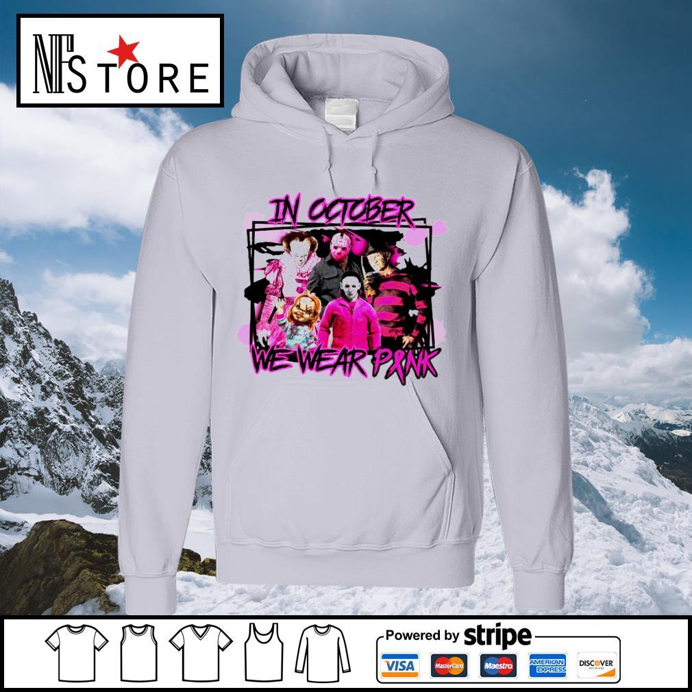 Horror breast cancer in October we wear pink s hoodie