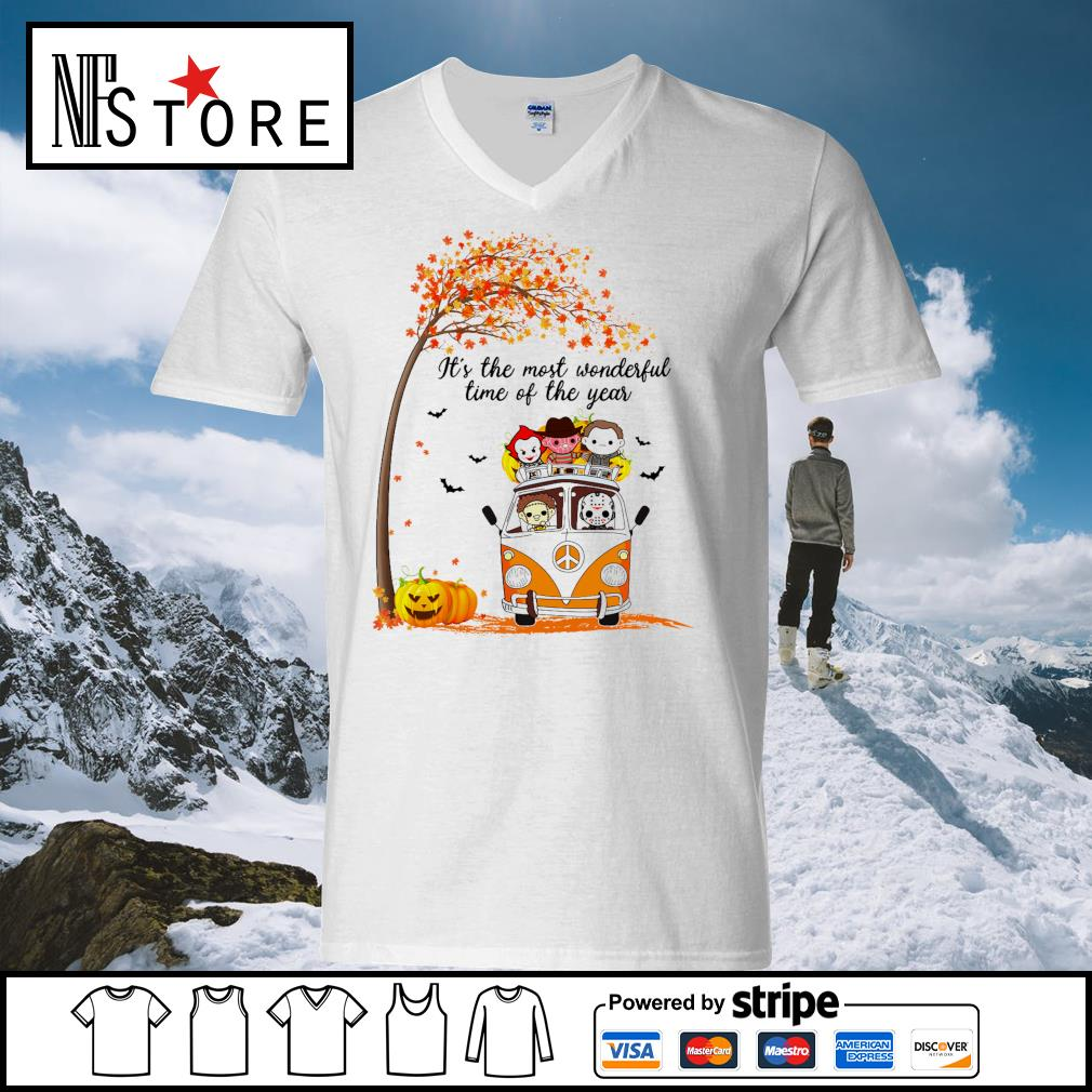 Horror Movies Character It_s the most wonderful time of the year Halloween s v-neck-t-shirt