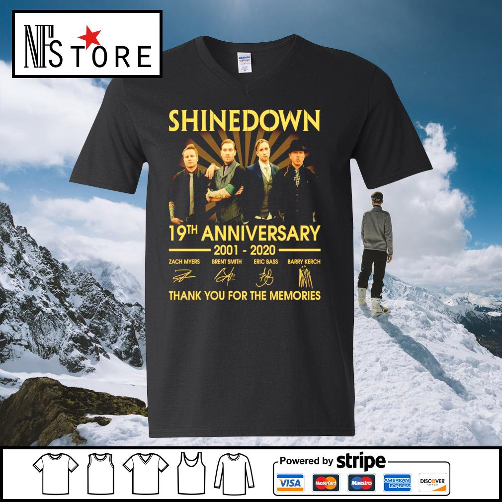 Shinedown 19th anniversary 2001 2020 thank you for the memories s v-neck-t-shirt