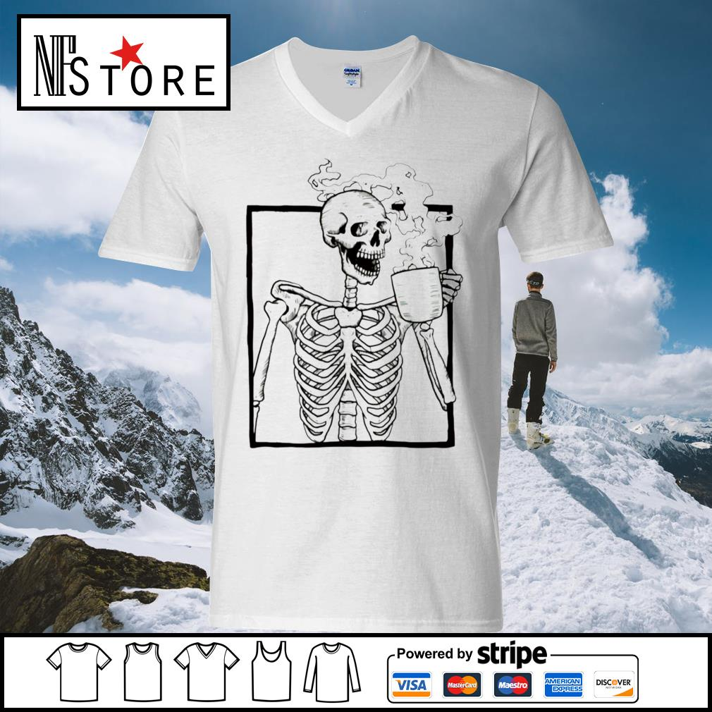 Skeleton coffee s v-neck-t-shirt